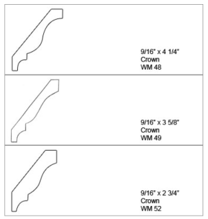 Upper cabinet crown moulding styles.
